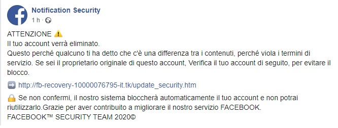 Truffa Pagina Facebook